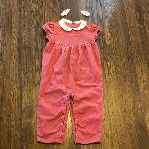 Dusty Rose velvet one piece and matching clippies